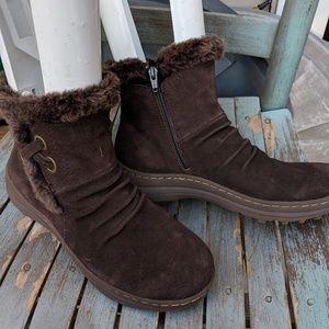 BareTraps Brown Suede Faux Fur Ankle Boots 8.5M